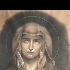 Arte: VIRGEN DOLOROSA EN CARBONCILLO AÑO 1860. Lote 120208595