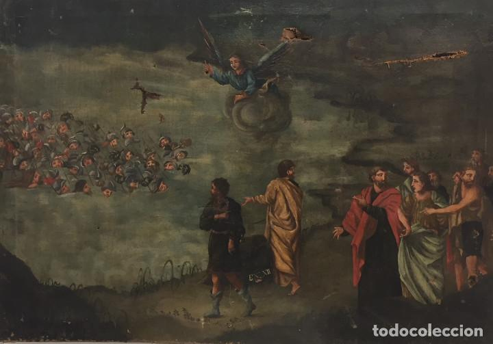 ESCENA DEL MAR ROJO EJERCITO EGIPCIO HUNDIDO - ESCUELA ESPAÑOLA XIX (Arte - Arte Religioso - Pintura Religiosa - Oleo)