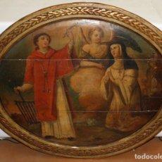 Arte: ESCUELA ESPAÑOLA DEL ULTIMO TERCIO DEL SIGLO XVII. SANTA TERESA Y SAN LORENZO CON ARGANGEL. Lote 120308171