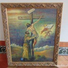 Arte: CUADRO PINTADO AL OLEO DESCENDIMIENTO DE JESUS LIENZO ALGUN TOQUE DE RESTAURACION. Lote 120327219