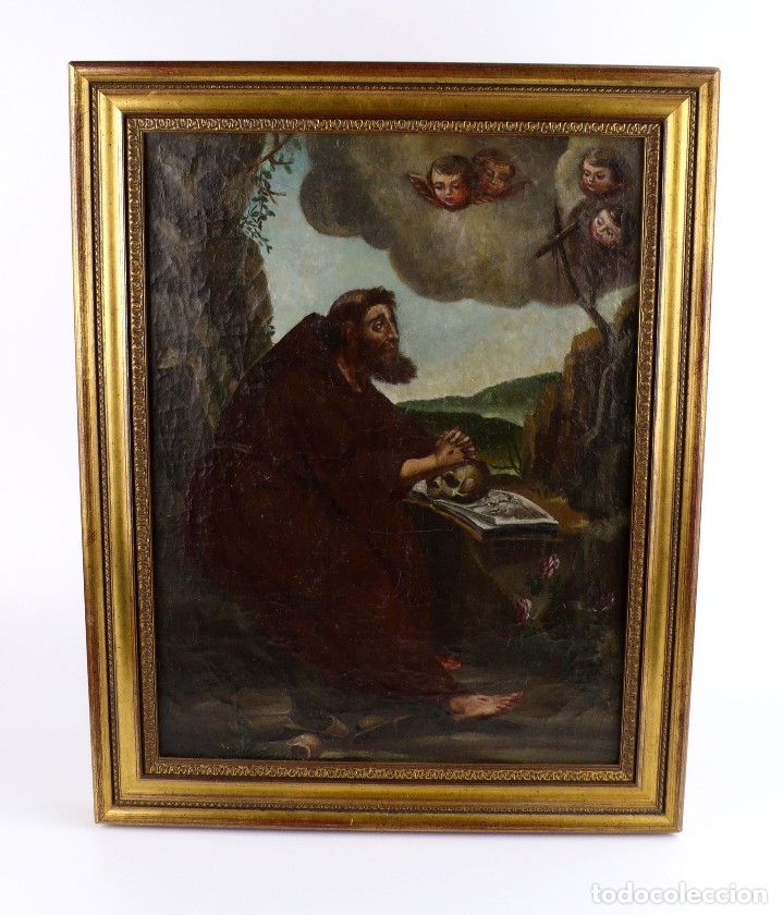 OLEO SOBRE LIENZO ANONIMO SIGLO XVIII..... SAN FRANCISCO ESCUELA ESPAÑOLA (Arte - Arte Religioso - Pintura Religiosa - Oleo)