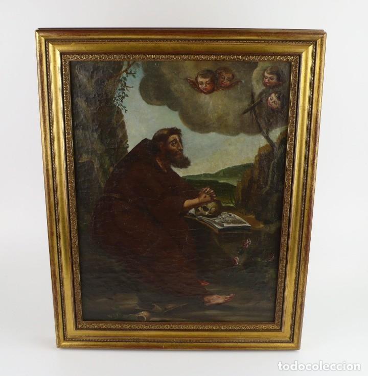 Arte: OLEO SOBRE LIENZO ANONIMO SIGLO XVIII..... SAN FRANCISCO ESCUELA ESPAÑOLA - Foto 3 - 99668423