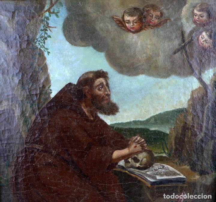 Arte: OLEO SOBRE LIENZO ANONIMO SIGLO XVIII..... SAN FRANCISCO ESCUELA ESPAÑOLA - Foto 2 - 99668423