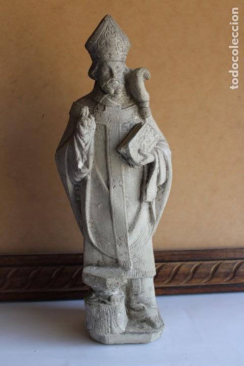 RARA Y ÚNICA FIGURA DE SAN FABIAN PAPA EN PIEDRA 32 CM (Arte - Arte Religioso - Escultura)