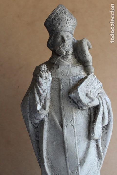Arte: RARA Y ÚNICA FIGURA DE SAN FABIAN PAPA EN PIEDRA 32 CM - Foto 4 - 120715235