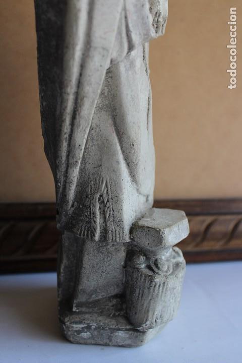 Arte: RARA Y ÚNICA FIGURA DE SAN FABIAN PAPA EN PIEDRA 32 CM - Foto 5 - 120715235