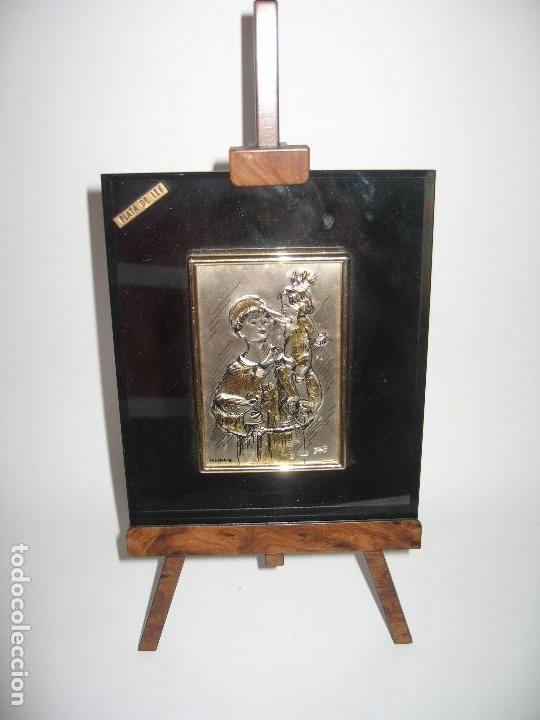PLACA DE PLATA SOBRE CRISTAL DE SAN ANTONIO DE PADUA (Arte - Arte Religioso - Pintura Religiosa - Otros)