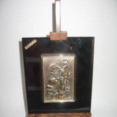 Arte: PLACA DE PLATA SOBRE CRISTAL DE SAN ANTONIO DE PADUA. Lote 120808427