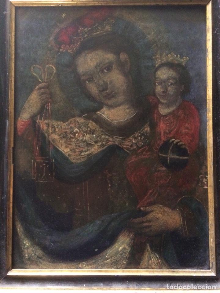 OLEO SOBRE COBRE VIRGEN CON EL NIÑO DE LA BOLA (Arte - Arte Religioso - Pintura Religiosa - Oleo)