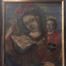 Arte: OLEO SOBRE COBRE VIRGEN CON EL NIÑO DE LA BOLA. Lote 120929812