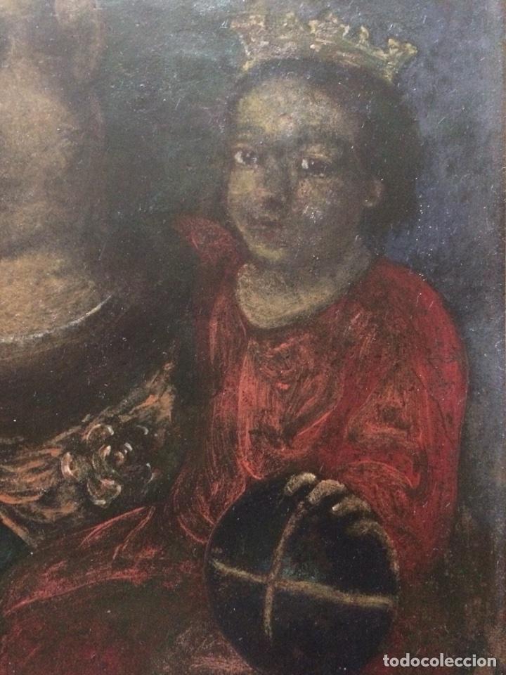 Arte: Oleo sobre cobre virgen con el niño de la bola - Foto 2 - 120929812