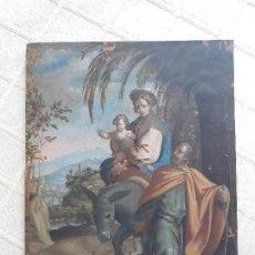 Arte: TABLILLA FLAMENCA S XVII. LA HUIDA A EGIPTO. ÓLEO SOBRE COBRE . 23X17,5 CM. Lote 121140875