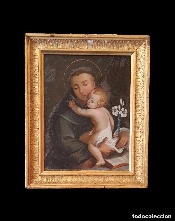 ANTIGUO ÓLEO SOBRE CRISTAL DE SAN ANTONIO DE PADUA.PRINCIPIOS DEL SIGLO XVIII. ÚNICO. PERFECTO.31X25 (Arte - Arte Religioso - Pintura Religiosa - Oleo)