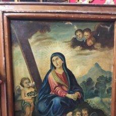 Arte: OLEO SOBRE LIENZO SIGLO XIX VIRGEN CON ATRIBUTO RELIGIOSO - MEDIDA LIENZO 64X52 CM - RELIGIOSA. Lote 121267867
