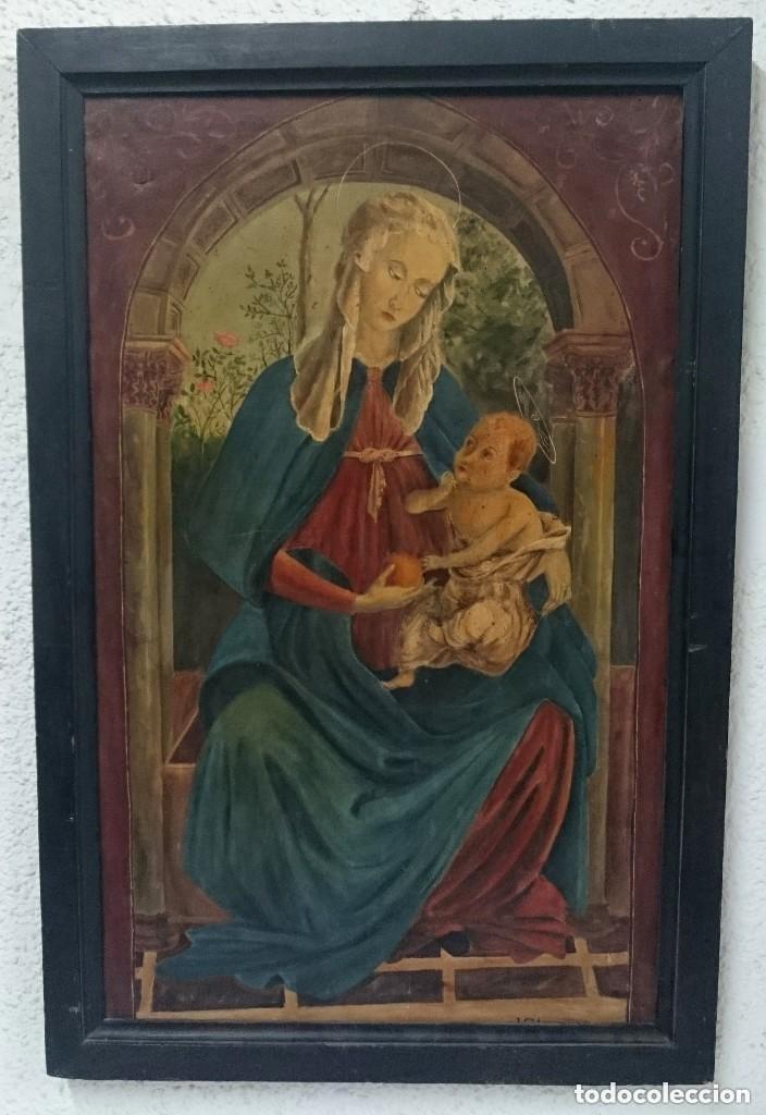 ANTIGUO ÓLEO SOBRE LIENZO VIRGEN DE LA GRANADA. 93X60CM (Arte - Arte Religioso - Pintura Religiosa - Oleo)