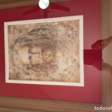 Arte: CUADRO AL OLEO ENMARCADO EN TERCIOPELO BURDEOS ,MARCO Y CRISTAL. Lote 121357467