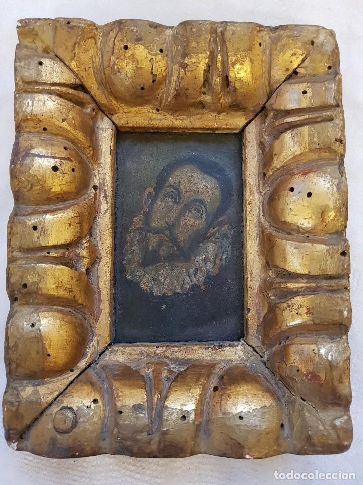 Arte: Óleo sobre cobre siglo XVII. Personaje de El Entierro del Conde de Orgaz. - Foto 2 - 121295255