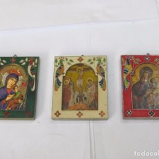 Arte: 3 CUADROS RELIGIOSOS DE METAL ESMALTADOS. Lote 121541051