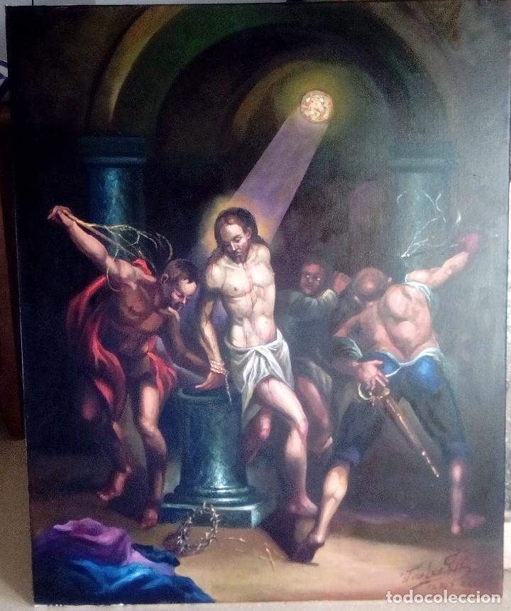 CRISTO ATADO A LA COLUMNA. FLAGELACIÓN. POR JOLOGA. 81X65. ELIGE MARCO A TU GUSTO. (Arte - Arte Religioso - Pintura Religiosa - Oleo)