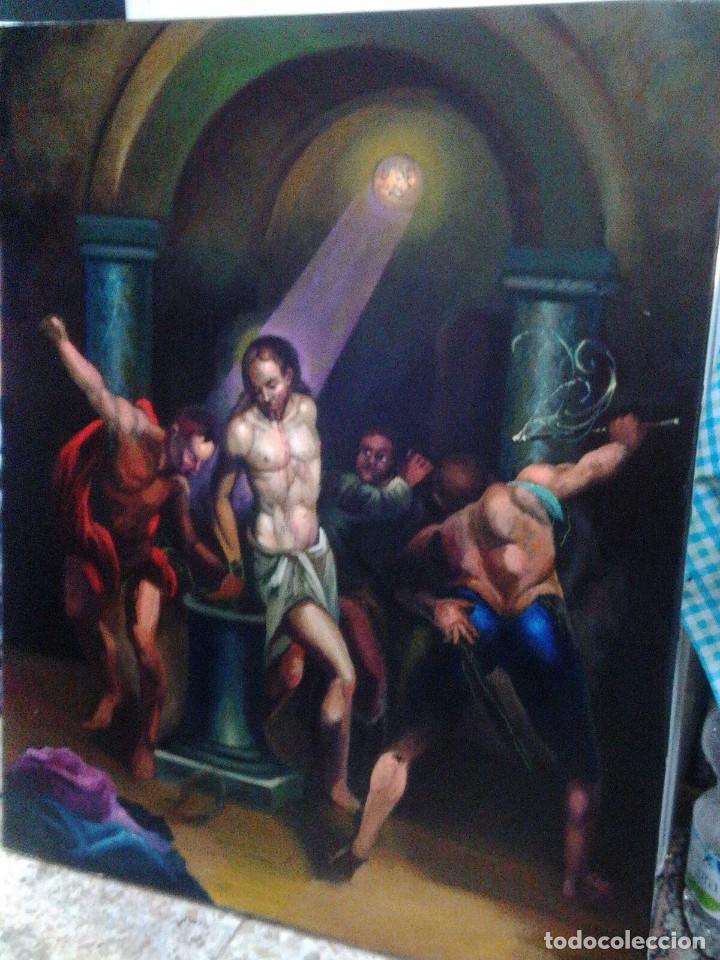 Arte: CRISTO ATADO A LA COLUMNA. FLAGELACIÓN. POR JOLOGA. 81X65. ELIGE MARCO A TU GUSTO. - Foto 9 - 121557335