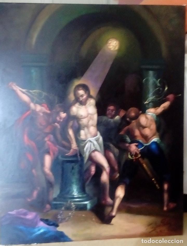 Arte: CRISTO ATADO A LA COLUMNA. FLAGELACIÓN. POR JOLOGA. 81X65. ELIGE MARCO A TU GUSTO. - Foto 10 - 121557335