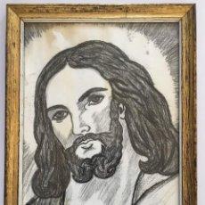 Arte: ANTIGUO DIBUJO A CARBONCILLO LA FAZ DE JESUCRISTO. REALIZADO A MANO Y FIRMADO. Lote 121618491