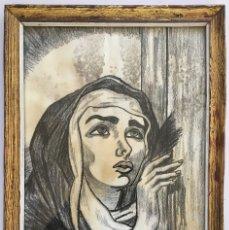 Arte: ANTIGUO DIBUJO A CARBONCILLO DE SANTA TERESA DE JESUS. REALIZADO A MANO Y FIRMADO. Lote 121620223