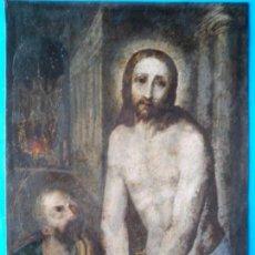 Arte: OLEO SOBRE COBRE, CRISTO Y SAN PEDRO AUTOR DESCONOCIDO. Lote 121650999
