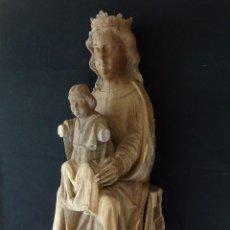 Arte: VIRGEN SENTADA (SEDES SAPIENTIAE). SIGLOS XIV-XV. ESCULTURA DE MADERA TALLADA EN SU COLOR. 95 CM.. Lote 121672027