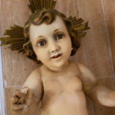 Arte: ANTIGUO NIÑO JESUS DE OLOT, OJOS DE CRISTAL, GRAN TAMAÑO, 45CM P.LLUIS MAS STª FAMILIA. Lote 121758046