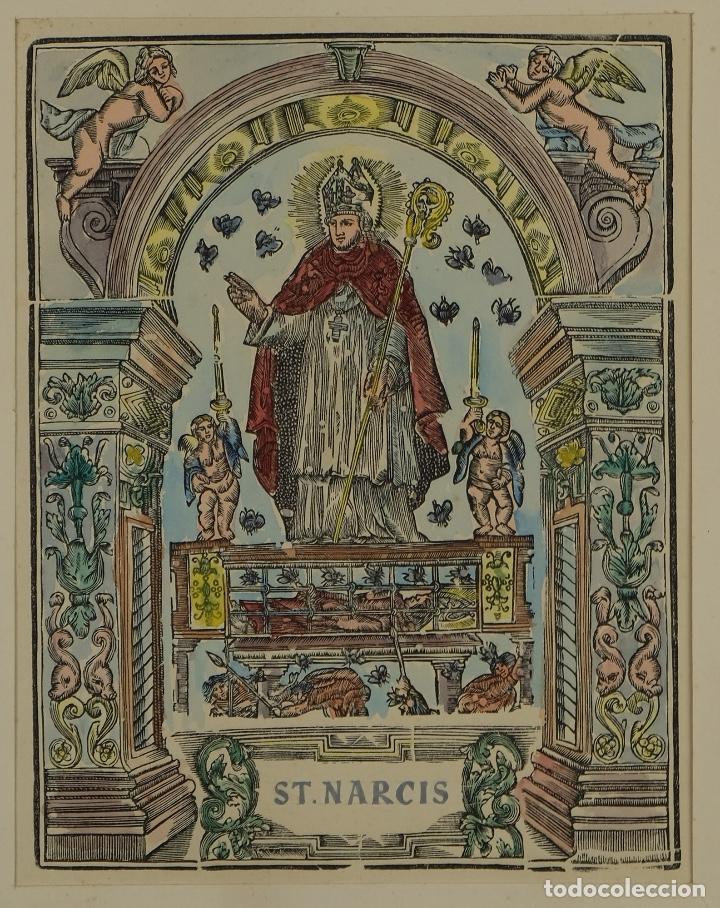 GRABADO COLOREADO A MANO SAN NARCISO SIGLO XIX (Arte - Arte Religioso - Grabados)