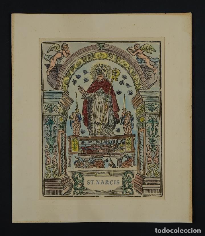 Arte: Grabado coloreado a mano San Narciso siglo XIX - Foto 2 - 121775691