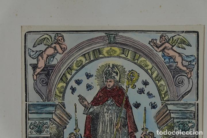Arte: Grabado coloreado a mano San Narciso siglo XIX - Foto 3 - 121775691