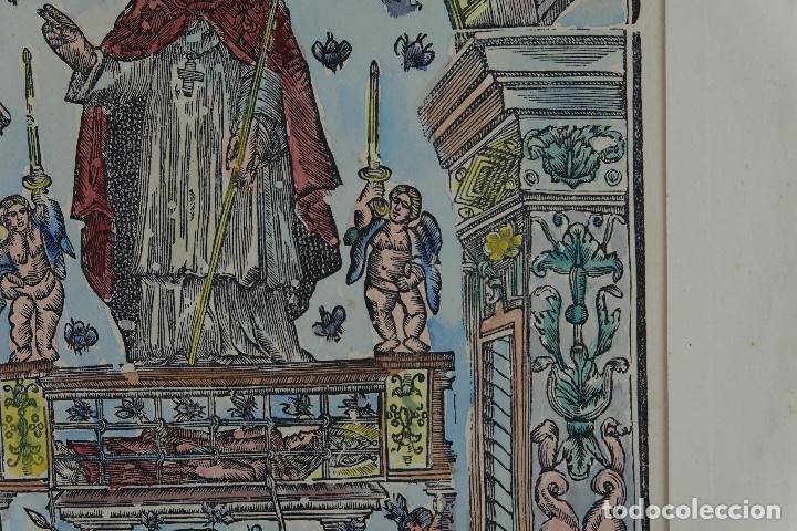 Arte: Grabado coloreado a mano San Narciso siglo XIX - Foto 4 - 121775691