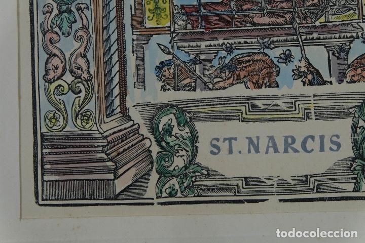 Arte: Grabado coloreado a mano San Narciso siglo XIX - Foto 6 - 121775691