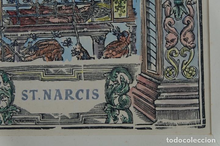 Arte: Grabado coloreado a mano San Narciso siglo XIX - Foto 7 - 121775691