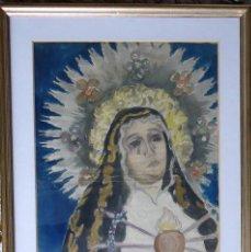 Arte: GALICIA.NOIA. DIBUJO-ACUARELA 45X30CM. 'DOLOROSA' FRANCISCO CREO. Lote 121882127