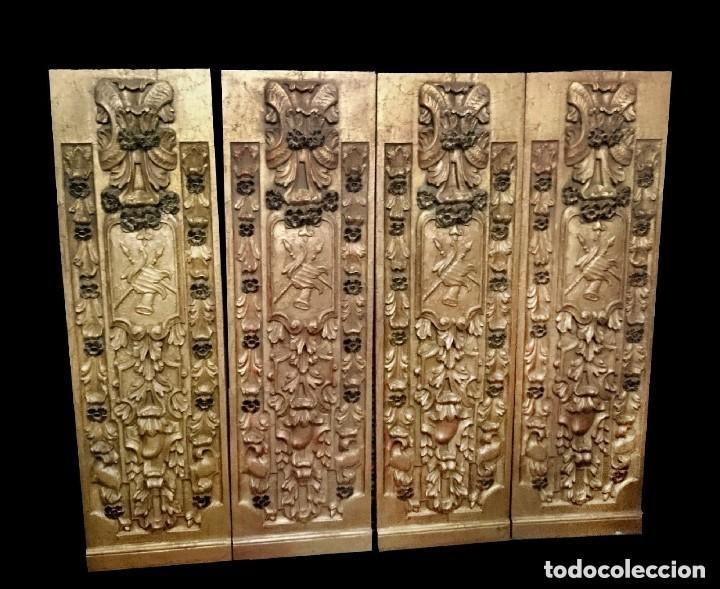Arte: Antigua tabla, adorno con motivos vegetales. Dorado y policromado. 173x55cm. Maravillosa - Foto 2 - 135529661