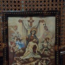 Arte: PRECIOSA LÁMINA ENMARCADA. 24,5 X 19,5 MARCO DE CONCHA. STA MARÍA DE LOS DOLORES. TIENE UN COMIDO.. Lote 122039890
