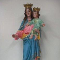 Arte: BONITA VIRGEN AUXILIADORA - ESTUCO POLICROMADO - TALLERES DE OLOT - ALTURA 105 CM - S. XX. Lote 122053535