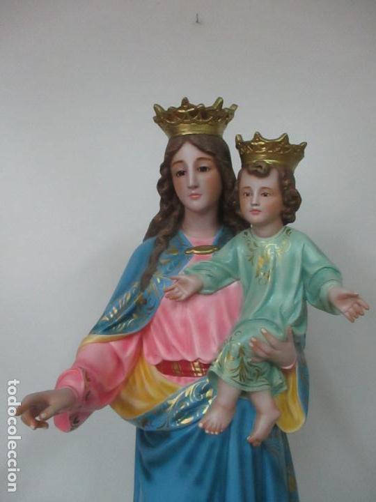 Arte: Bonita Virgen Auxiliadora - Estuco Policromado - Talleres de Olot - Altura 105 cm - S. XX - Foto 2 - 122053535