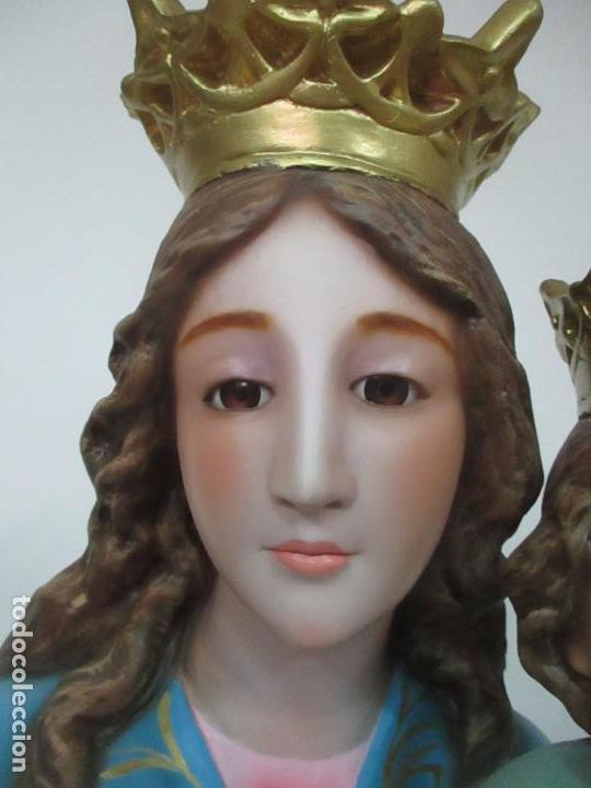 Arte: Bonita Virgen Auxiliadora - Estuco Policromado - Talleres de Olot - Altura 105 cm - S. XX - Foto 7 - 122053535
