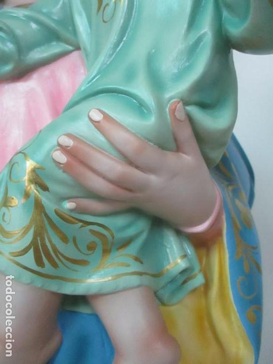 Arte: Bonita Virgen Auxiliadora - Estuco Policromado - Talleres de Olot - Altura 105 cm - S. XX - Foto 8 - 122053535