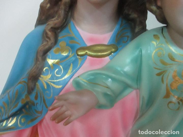 Arte: Bonita Virgen Auxiliadora - Estuco Policromado - Talleres de Olot - Altura 105 cm - S. XX - Foto 14 - 122053535