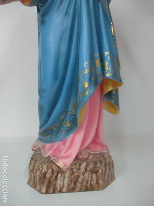 Arte: Bonita Virgen Auxiliadora - Estuco Policromado - Talleres de Olot - Altura 105 cm - S. XX - Foto 15 - 122053535
