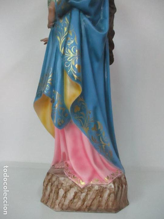 Arte: Bonita Virgen Auxiliadora - Estuco Policromado - Talleres de Olot - Altura 105 cm - S. XX - Foto 20 - 122053535