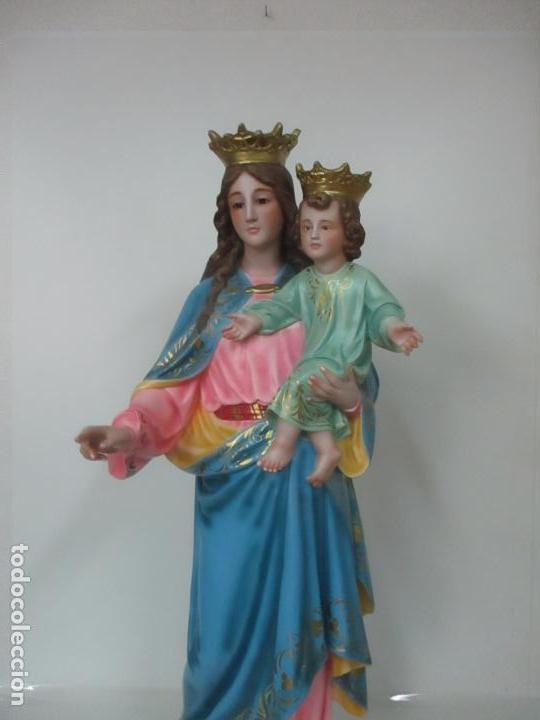 Arte: Bonita Virgen Auxiliadora - Estuco Policromado - Talleres de Olot - Altura 105 cm - S. XX - Foto 25 - 122053535