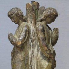 Arte: PRECIOSA TALLA ANGELES TORCHEROS. MADERA TALLADA Y POLICROMADA. SIGLO XVII. Lote 122100183