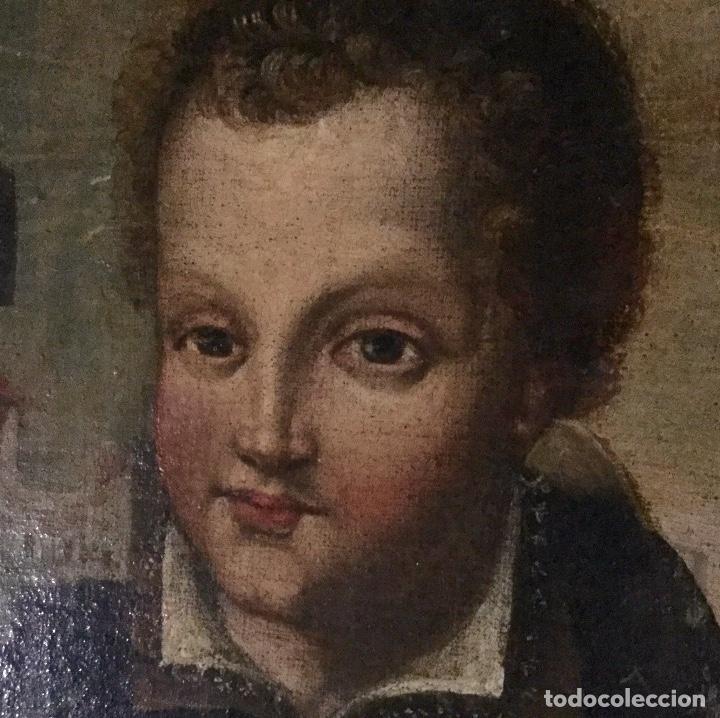 MAGNÍFICO ÓLEO CON PARTICULAR ICONOGRAFÍA NIÑO JESÚS COMO PEREGRINO (Arte - Arte Religioso - Pintura Religiosa - Oleo)