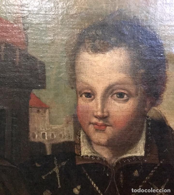 Arte: Magnífico óleo con particular iconografía NIÑO JESÚS COMO PEREGRINO - Foto 2 - 122146791